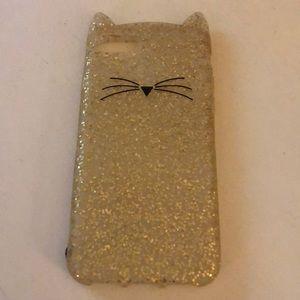 Kate Spade glittery cat case  iPhone 7/8 EUC